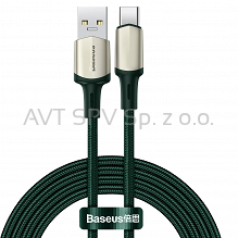 Nylonowy kabel USB-C VOOC QC3.0, 5A, zielony, 2m Baseus Cafule Cable
