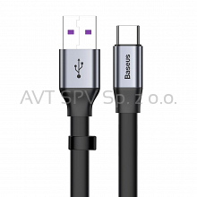 Płaski kabel USB / USB-C SuperCharge 5A 40W QC3.0 23cm Baseus Simple szary
