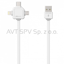 Kabel USBcable 3w1: Apple Lightning, USB-C, micro USB; biały 1.5m