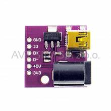 Płytka PCB ze złączem mini USB + DC. Mini USB power distribution z AMS1117 3,3V, 5V, D+,D-