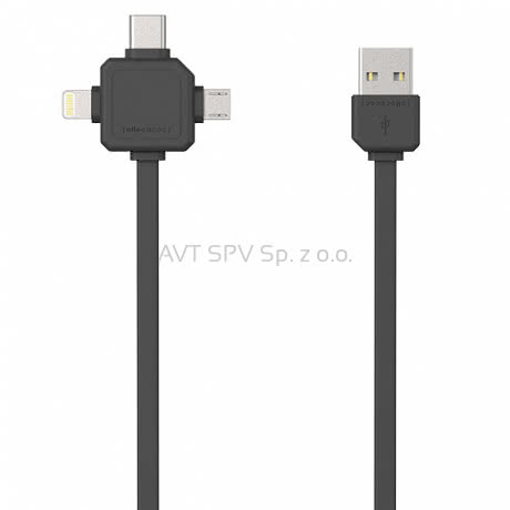 Kabel USBcable 3w1: Apple Lightning, USB-C, micro USB; szary 1.5m
