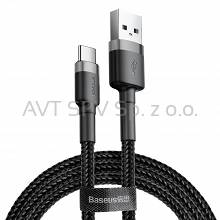 Nylonowy kabel USB-C QC3.0, 2A, czarno-szary, 3m Baseus Cafule Cable