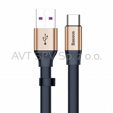 Płaski kabel USB / USB-C SuperCharge 5A 40W QC3.0 23cm Baseus Simple złoty